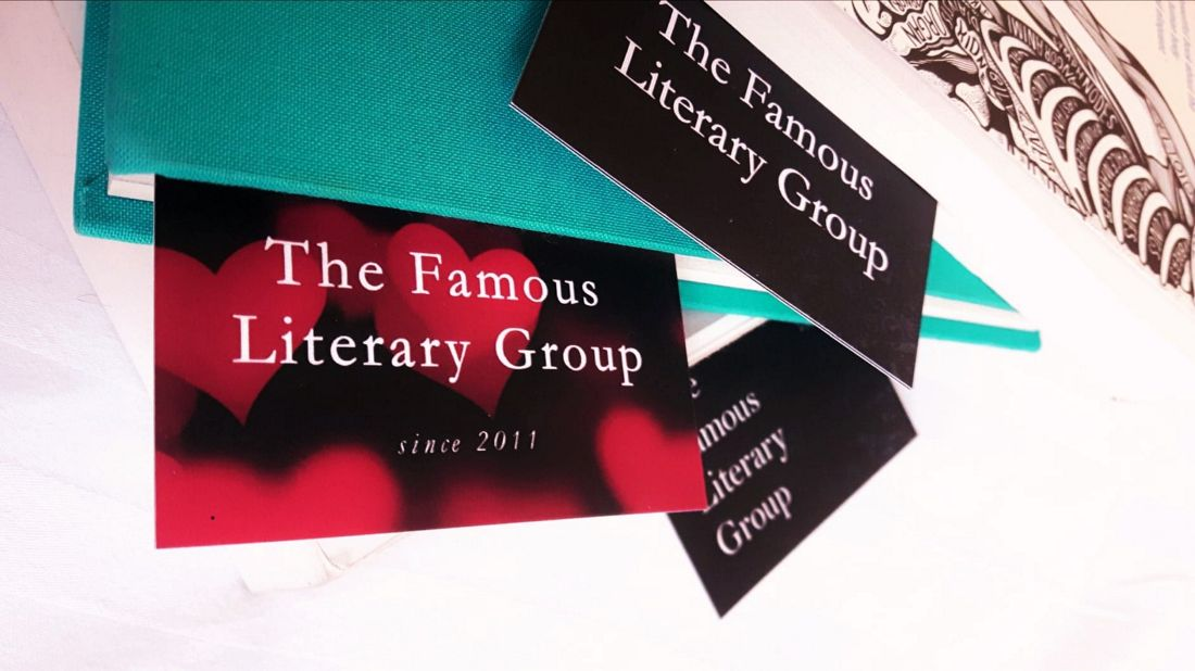 The business cards and bookmarks of The Famous Literary Group
